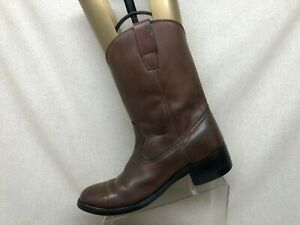 Brown-Leather-Roper-Cowboy-Western-Boots-Mens-Size-10-D-Style-7013
