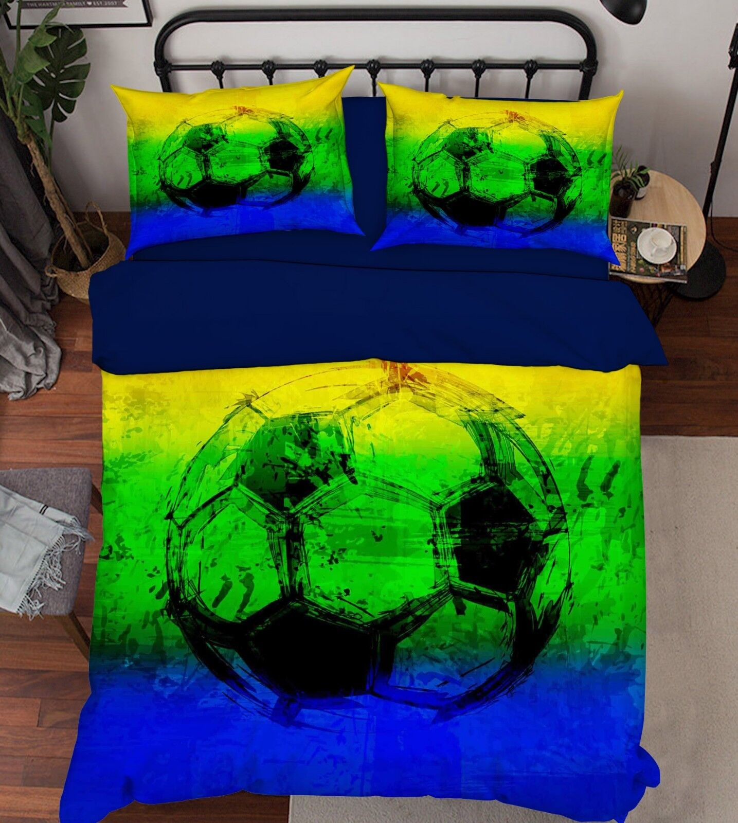 3D Heller Fußball 1 Bett Kissenbezüge steppen Duvet Decken Set Single Königin DE