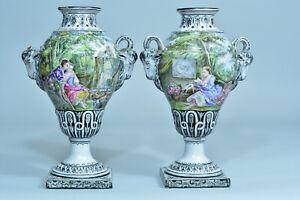 Paire-de-Grande-vase-faience-fine-Potiche-signe-19-eme-Italie-Decor-peint-rare