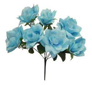 7 LIGHT BLUE Open Roses Soft Touch Silk Wedding Bouquet Flowers Centerpieces