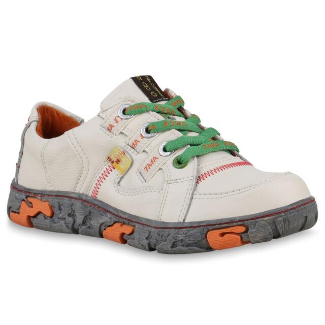 TMA Damen Sneaker Low Leder Freizeit Schuhe Vintage