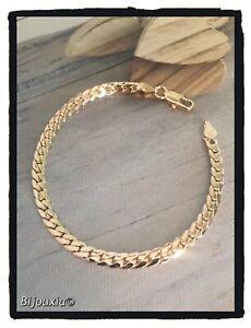 Bracelet-Souple-Maille-anglaise-Plaque-Or-18-Carats-Poinconne-Bijoux-Femme