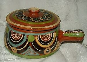 Mexico-REDWARE-Covered-Handled-Casserole-Pot-Mexican-Hand-Painted