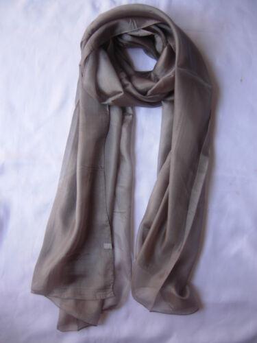 Brand New  100/% Pure Silk Scarf Wrap Grey