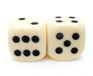 Coppia-di-dadi-034-2-avorio-6-facce-034-15-mm-pallini-neri