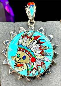 STELLA SMILEY NAVAJO CORD NECKLACE STONE INLAY DAY OF THE DEAD HEADDRESS PENDANT