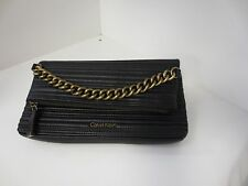 New Calvin Klein Lamb Fold-over flap Quilted Clutch