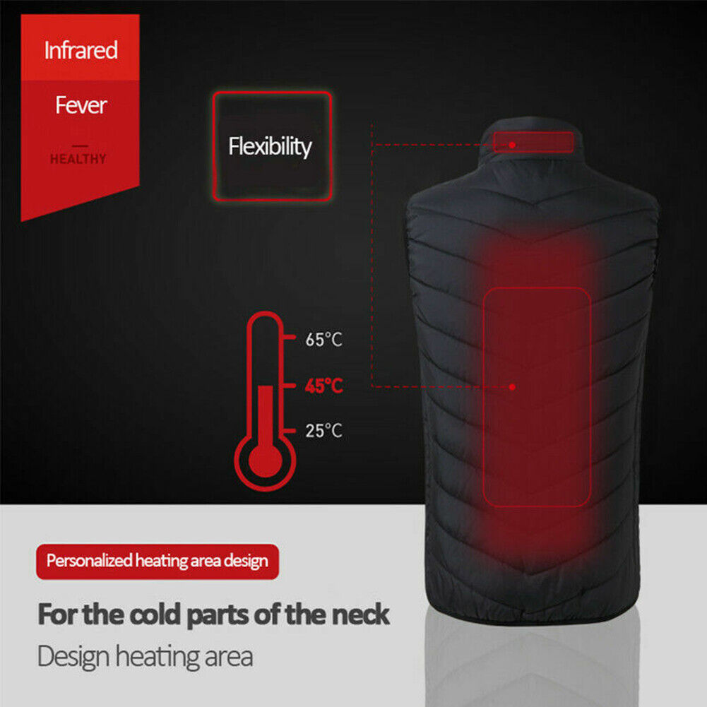 USB Electric Heated Hooded Coat Jacket / Winter Warm Heating