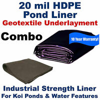 35' X 50' 20 Mil Hdpe Pond Liner & Geo Combo 10 Year Warranty