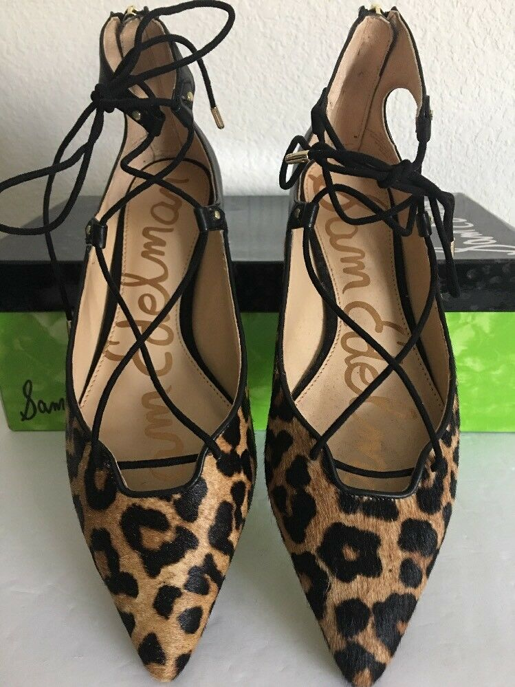 SAM EDELMAN Rosie, Schuhes Leopard Brahma Slingback Lace Up Flat Schuhes Rosie, Damenschuhe 7.0 42c19e