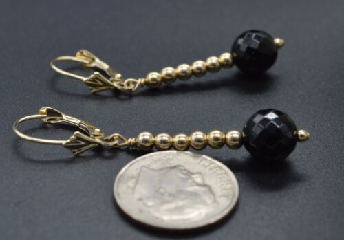 14K Solid Gold Faceted Onyx Black /& Gold Beads LeverBack Earrings