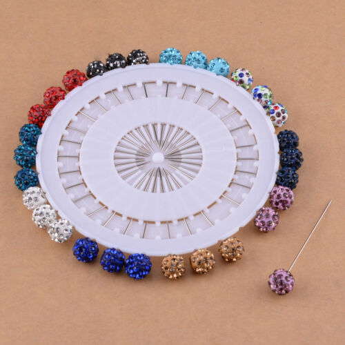 30x Crystal Wheel Brooch Long Pins Sewing Snag Wedding Hat Hijab Scarf