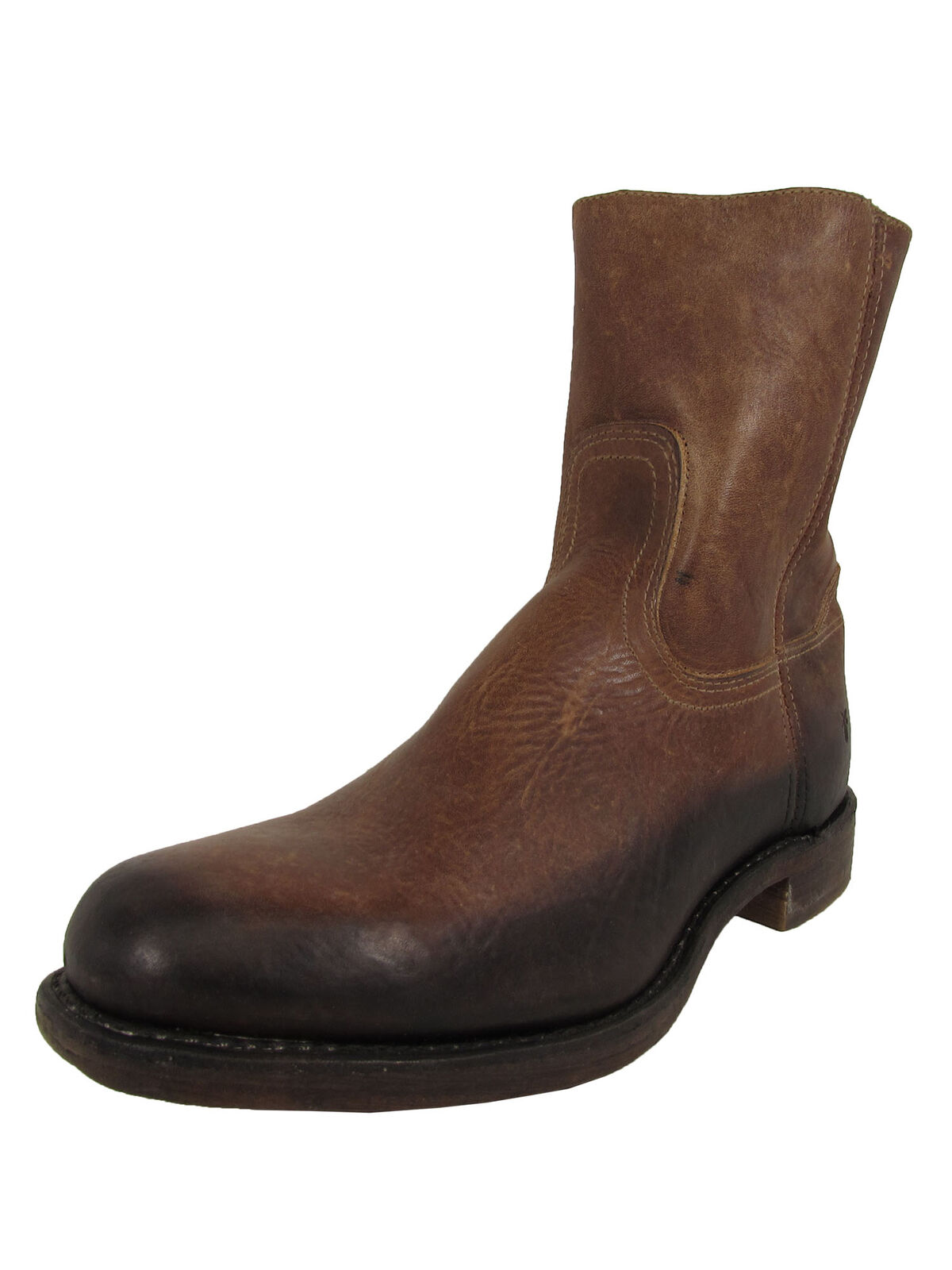 Frye Mens Campus Inside Zip Up Leather Round Toe Boots, Brown, US 10