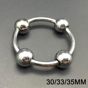 Stainless-Steel-Metal-Penis-Pressure-Point-4-Beaded-Glans-Head-Ring-30-33-35mm