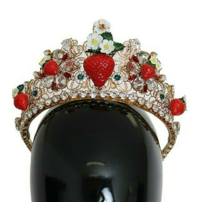 DOLCE & GABBANA Tiara Gold Crystal Strawberry Floral Crown Logo Diadem RRP