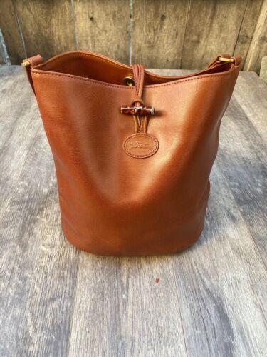 Vintage Longchamp Brown 🔥 Leather Bucket Shoulder