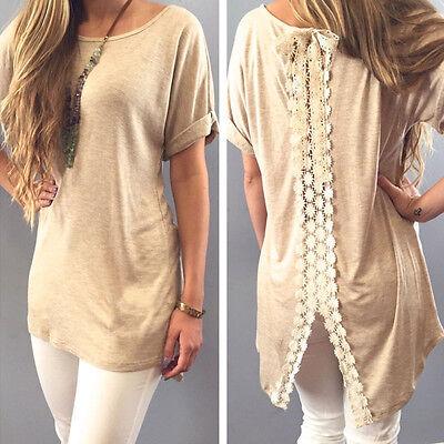 Women Lady Summer Vest Short Sleeve Blouse Casual Tank Tops T-Shirt Lace