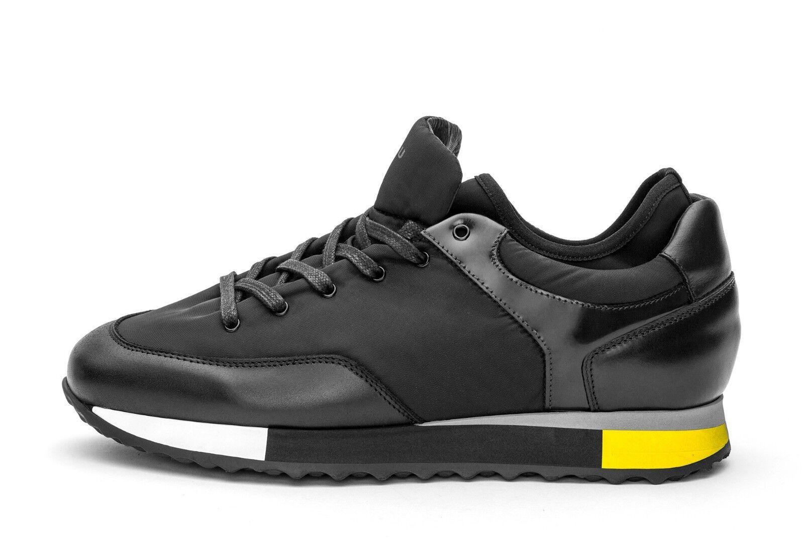 FRAU FRAU FRAU 23M2 sneaker uomo tessuto pelle nero giallo suola gomma made in Italy 50732f