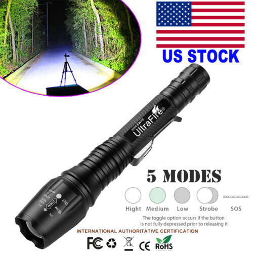 90000Lumens Tactical 5 Modes Zoomable Focus T6 LED  Flashlight Torch Light