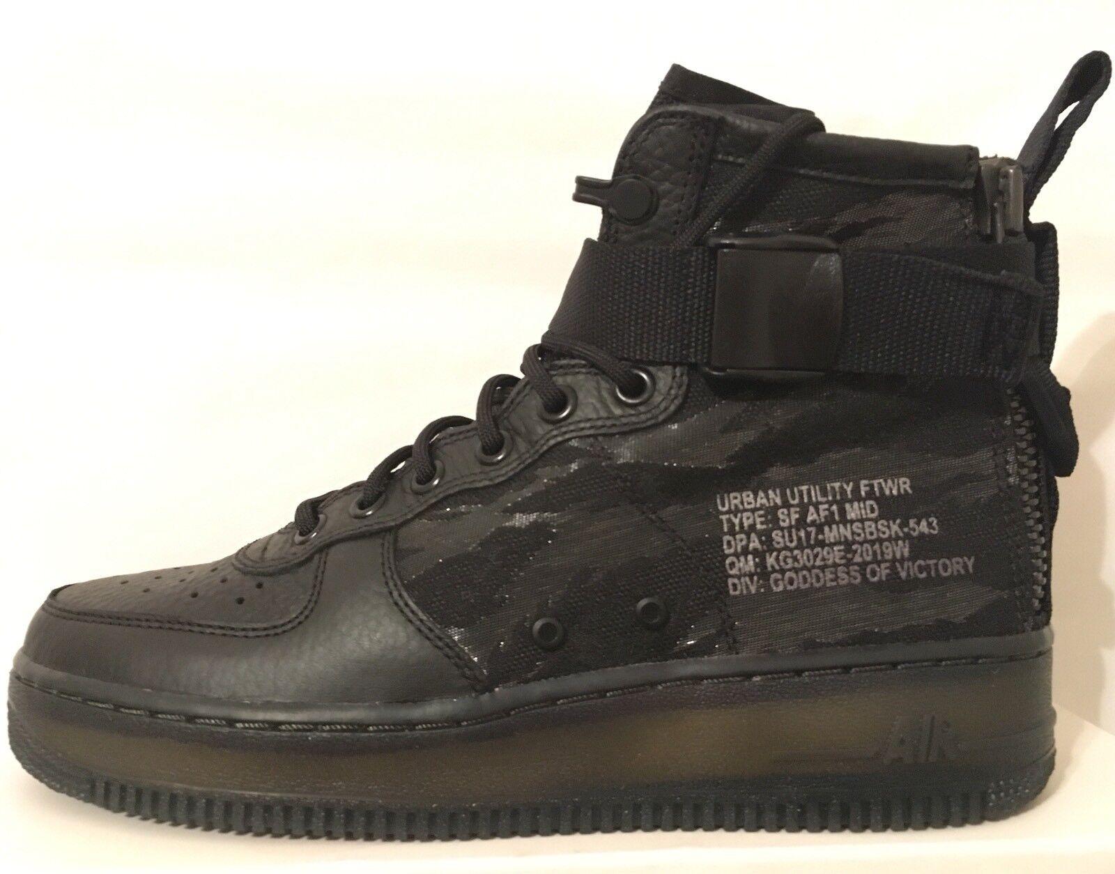 SZ.9.5 Nike Men SpecialField SF AirForce1 AF1 Mid QS AA7345 001 Black/BlackCargo