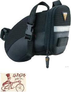 TOPEAK AERO WEDGE LARGE BLACK BICYCLE SEAT SADDLE BAG PACK W/ STRAPS
