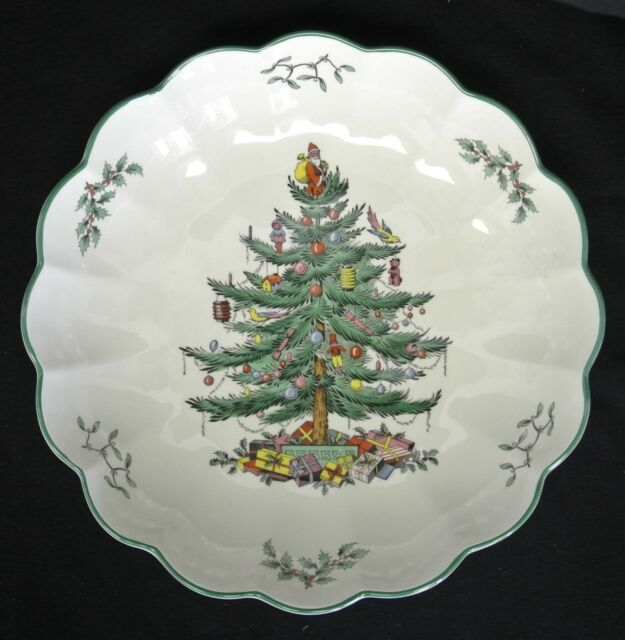 """Spode Christmas Tree Pattern Made in England Round Fluted Bowl 10""""   eBay"""