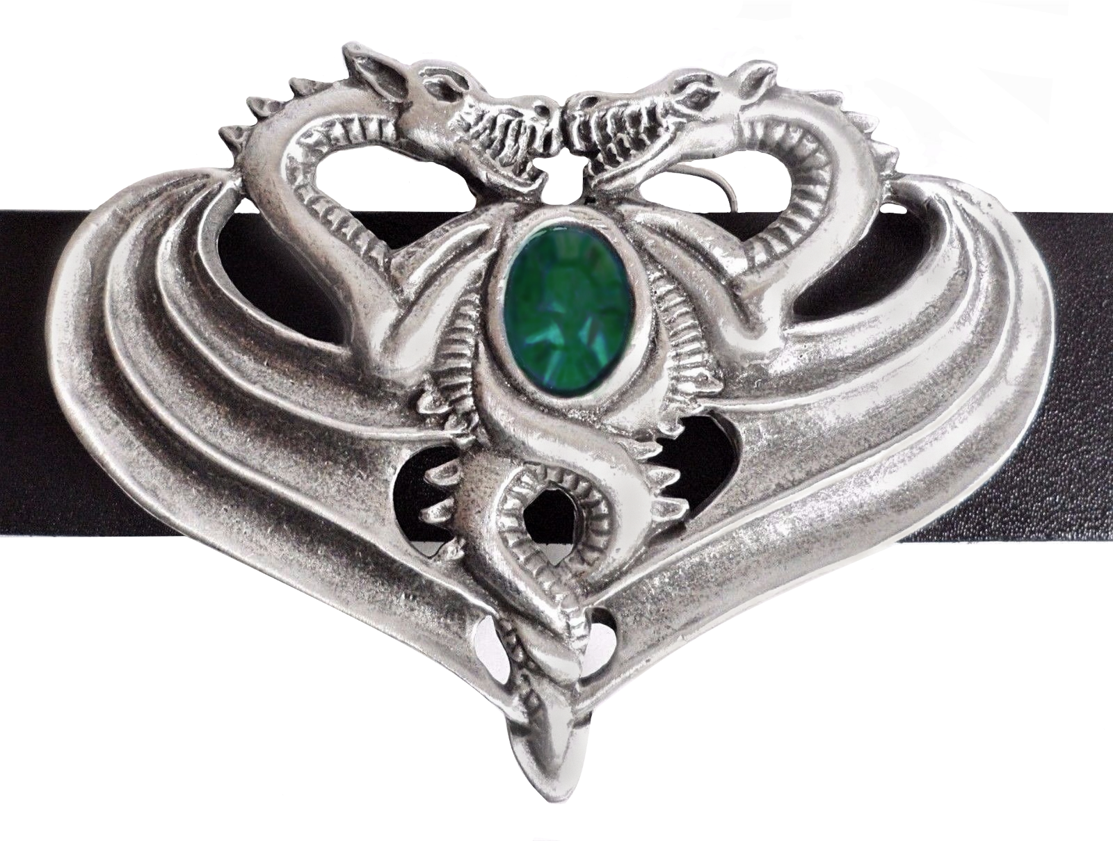 Opposing Dragons Belt Buckle - Hand Made in Pewter with Emerald-coloured Stone