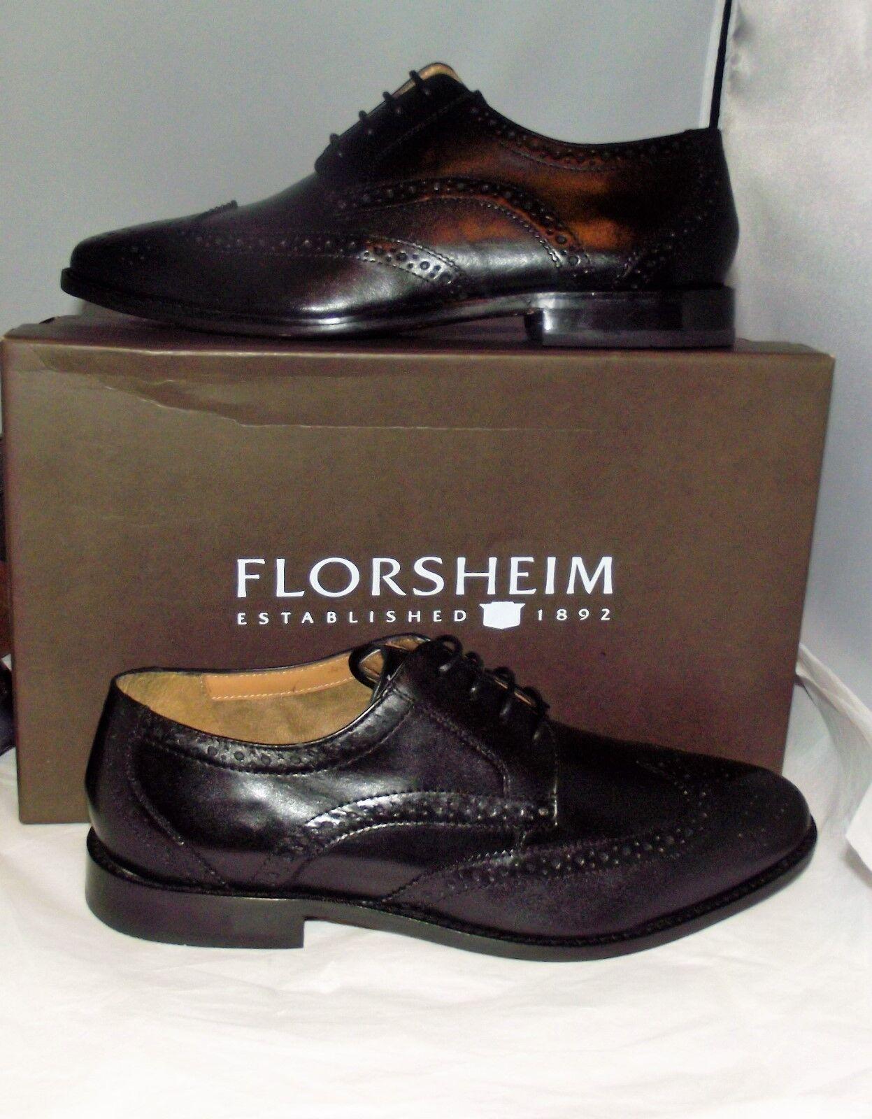 Mens Florscheim Montinaro Wings Oxfords shoes 11737 Black Leather New NIB 8D