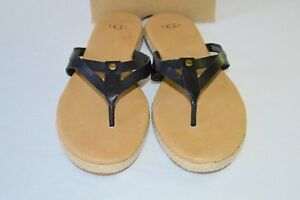 7f750181186 New  80 UGG Annice Black Leather Thong Sandal Flip Flop Espadrille ...
