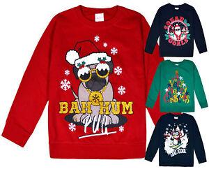 Chicas-chicos-Navidad-Jersey-Top-Sudadera-de-algodon-Kids-Xmas-nuevo-7-13-anos-de-edad