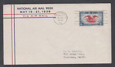 US Mel C23-66 FDC. 1938 6c Eagle & Shield Air Mail, Washington Service cachet