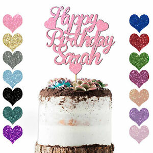 Personalised Any Name Happy Birthday Love Heart Cake Topper Party Decoration