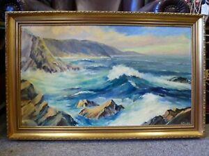 British-Vintage-Oil-painting-Seascape-Artist-signed-W-Downs-Cornwall-Portreath