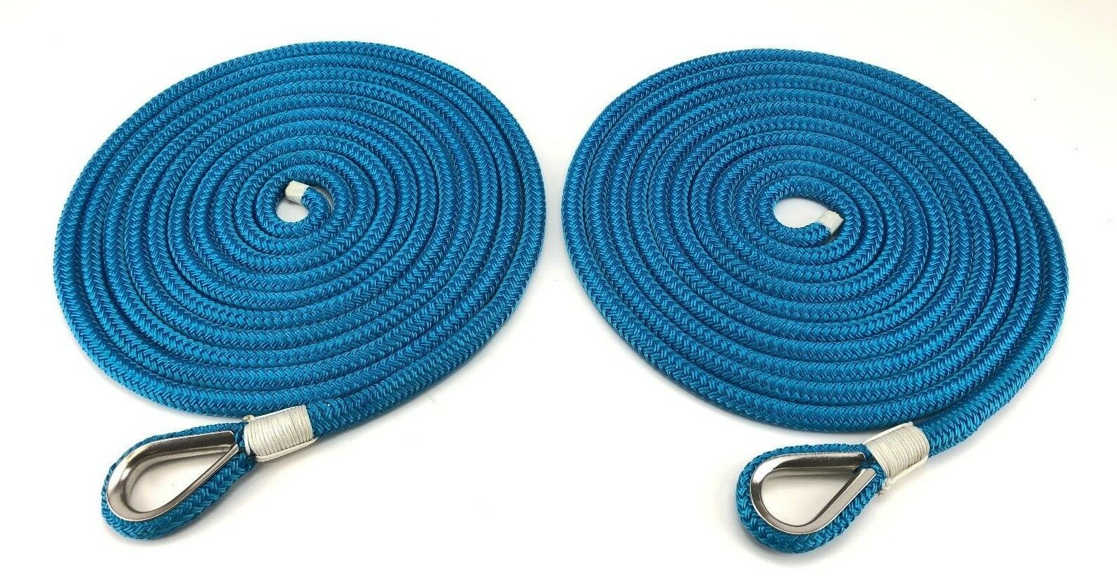 10mm Royal bluee Double Braid Polyester Mooring Ropes, 2 x 8 Mts, Stainless Eye