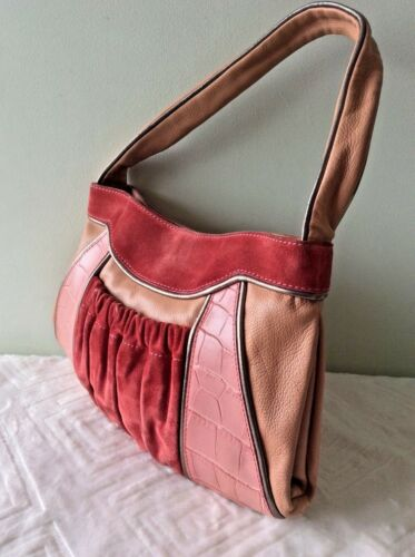 brazo y bolso bajo Italian peach o suede el Peque Maxmara Leather Pink Real bolsa S7qA8Pw