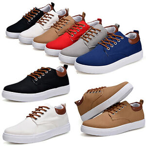 Mens-Casual-Canvas-Sports-Shoes-Trainers-Rubber-Sole-Sneakers-Lace-Up-Shoes-Size