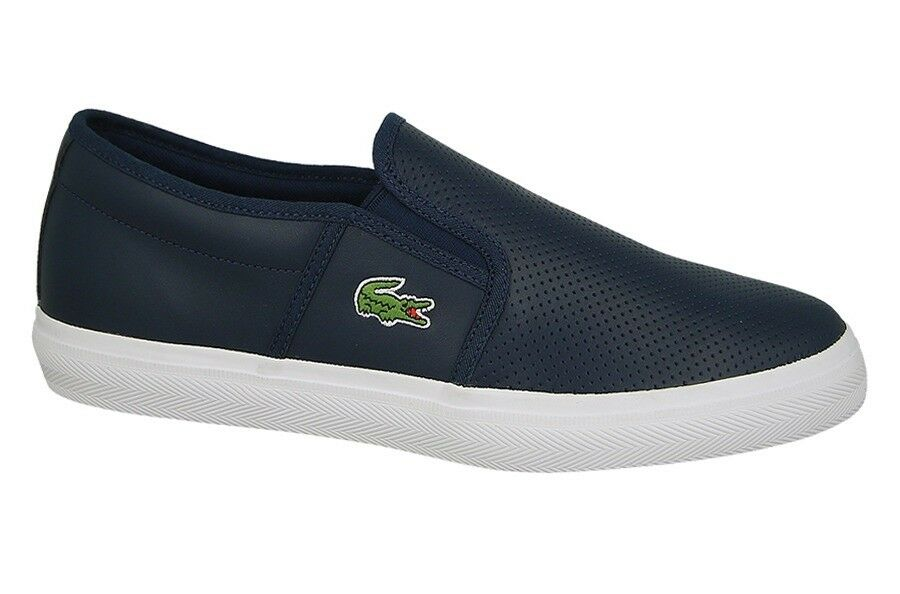 Lacoste Mens shoes Gazon BL1 Navy Leather Casual Fashion Sneaker NEW