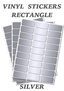 200  Silver  Rectangles Stickers Self Adhesive Vinyl Labels size 54mm x 32mm