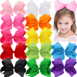 8 Inch Hair Bows For Girls Women Bow Tie Lot Grosgrain Ribbon Alligator Clips