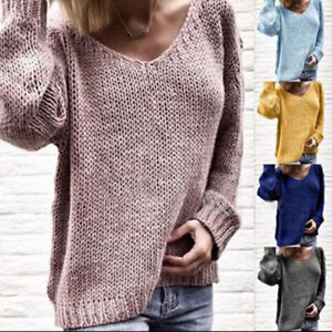 Women Knitted Long Sleeves V-Neck Loose Pullover Jumper Sweater Tops OVERSIZE