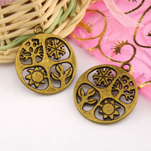3Pcs Tibetan Silver,Antiqued Bronze Four Seasons Charms Pendants M1335
