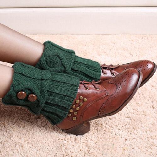 Womens Winter Knit Crochet Slouch High Knee Leg Warmers Boot Socks Cuff Toppers