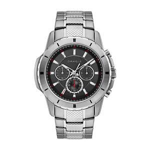 Caravelle-Men-039-s-43A147-Quartz-Chronograph-Black-Dial-Bracelet-48mm-Watch