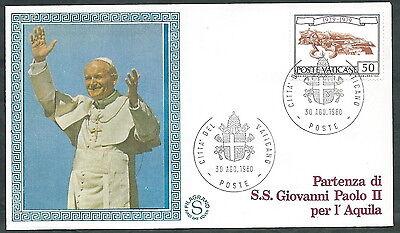 Mooi 1980 Vaticano Viaggi Del Papa Partenza Per L'aquila - Sv Bespaar Zonder Kosten