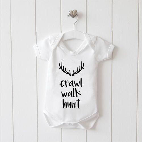 Crawl Hunt Baby Vest Baby Grow 100/% Cotton Boys Girls Bodys Walk