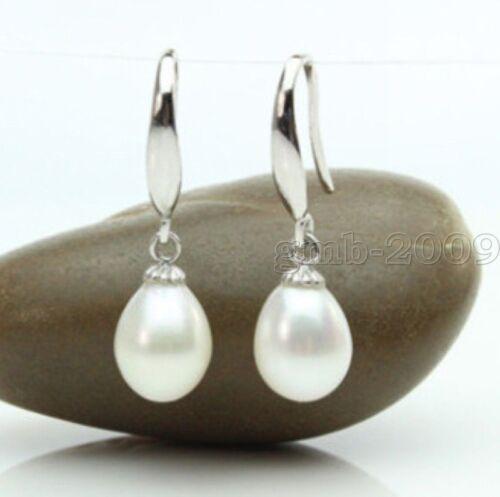 Véritable Naturel 7-8 Mm White Freshwater Cultured Pearl Silver Boucles d/'oreilles