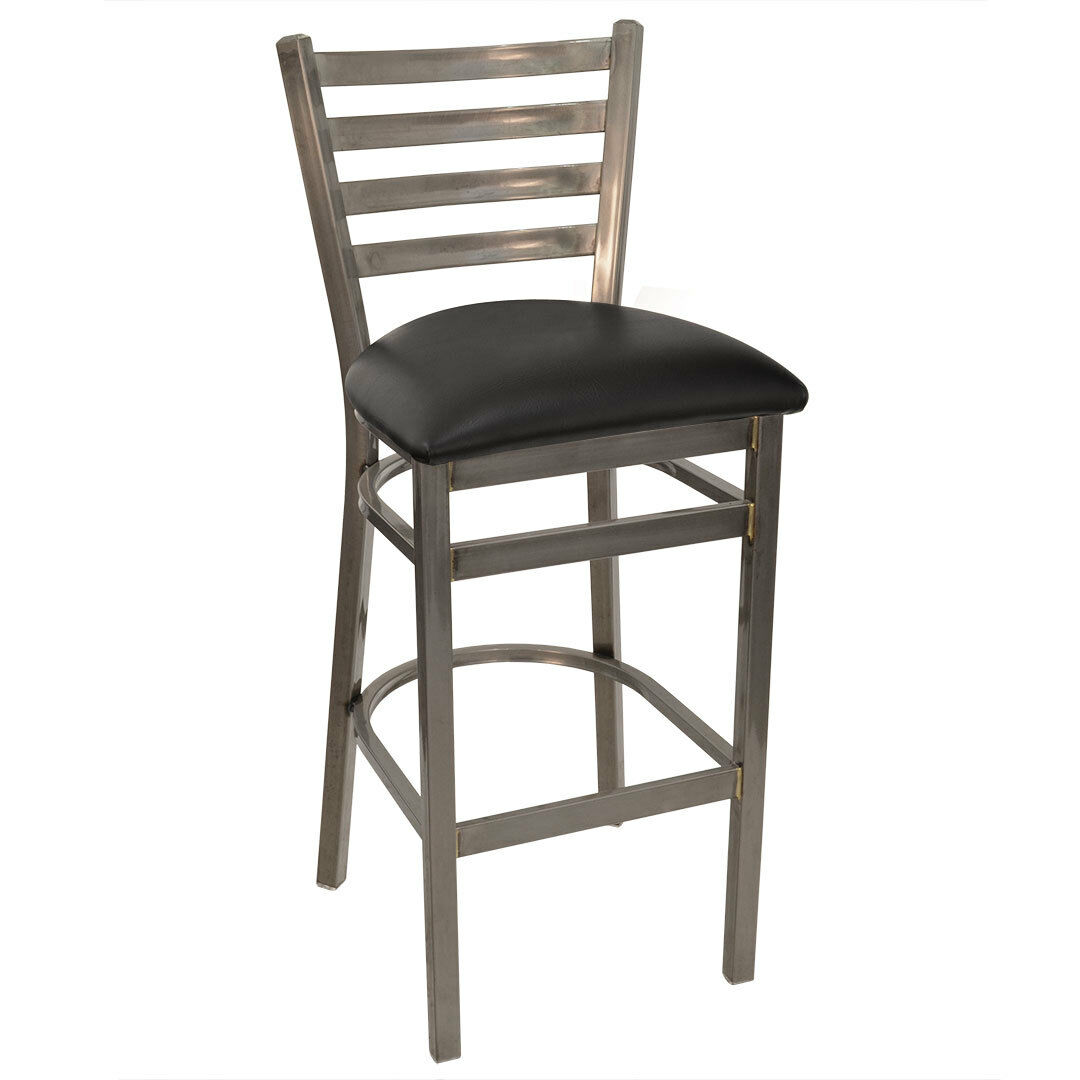 Terrific Details About New Gladiator Clear Coat Ladder Back Metal Restaurant Bar Stool Black Seat Alphanode Cool Chair Designs And Ideas Alphanodeonline