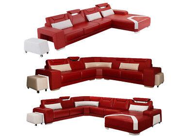 Sofa Couch Wohnlandschaft Xxl Couch Ledersofa Mit Ottomane Sofagarnitur F3011