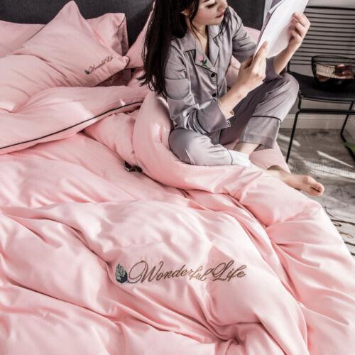 Embroidery Solid Color Satin Duvet Cover//Bedding Sheet Set Bed Sets