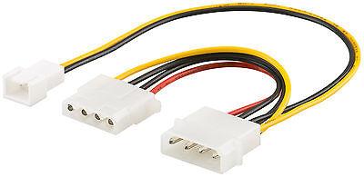 Adattatore Ventola Molex Spina 4 Pin A 3 Pin Connettore E 4 Pin Molex Femmina 20cm- Alta Qualità E Basso Sovraccarico
